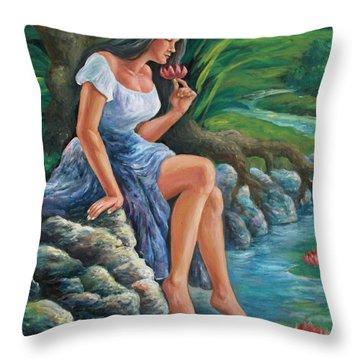 daragang magayon -beautiful lady in Mayon Throw Pillow by Manuel Cadag