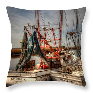 Throw Pillow featuring the photograph Darien Boats by Greg and Chrystal Mimbs