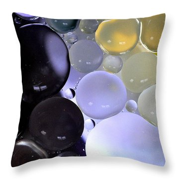 Throw Pillow featuring the photograph Dark And Purple Bubbles by Christine Ricker Brandt