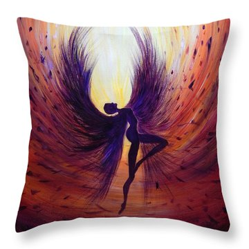 Dark Angel Throw Pillow by Lilia D