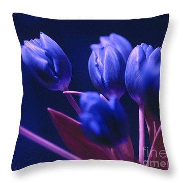 Dark Blue Tulips Throw Pillow