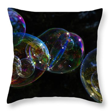 Throw Pillow featuring the photograph Dark Bubbles With Babies by Nareeta Martin