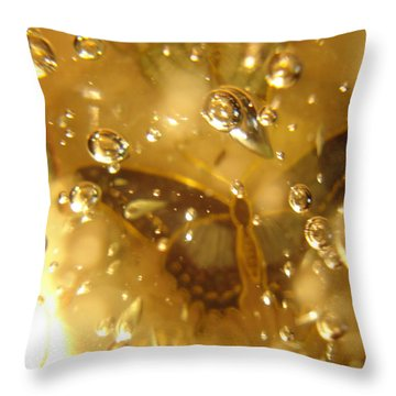 Dark Butterfly With Bubbles Throw Pillow