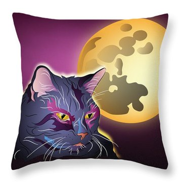 Throw Pillow featuring the digital art Dark Cat And Full Moon by MM Anderson