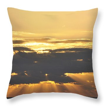 Dark Cloud Over Sea With Sunbeams Throw Pillow