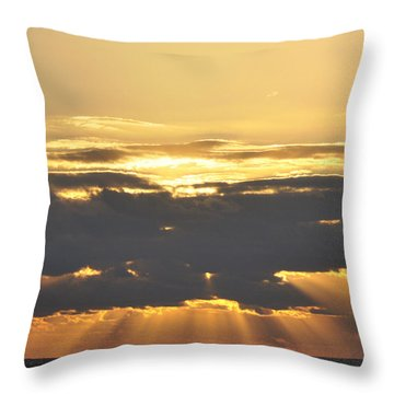 Dark Cloud Over Sea With Sunbeams Throw Pillow