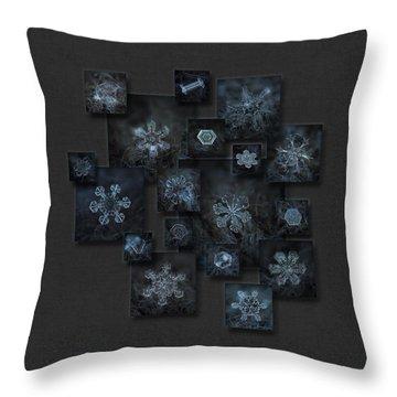 Snowflake Collage - Dark Crystals 2012-2014 Throw Pillow