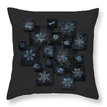 Throw Pillow featuring the photograph Snowflake Collage - Dark Crystals 2012-2014 by Alexey Kljatov