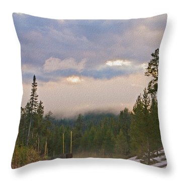 Dark Forest Morning Throw Pillow