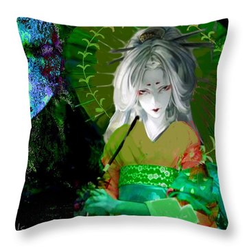 Throw Pillow featuring the digital art Dark Giesha by Diana Riukas