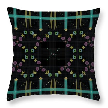 Throw Pillow featuring the digital art Dark Grid Quilt by Kevin McLaughlin