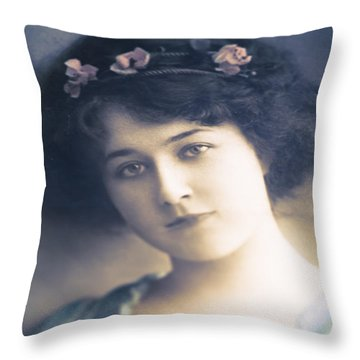 Dark Haired Beauty Throw Pillow by Jan Bickerton