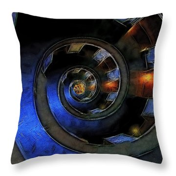 Dark Hallway Down Throw Pillow