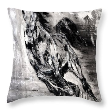 Dark Horse Contemporary Horse Painting Throw Pillow