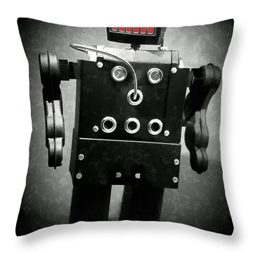 Dark Metal Robot Oil Throw Pillow by Edward Fielding