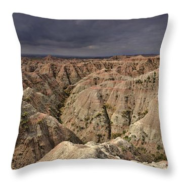Throw Pillow featuring the photograph Dark Panorama Over The South Dakota Badlands by Sebastien Coursol