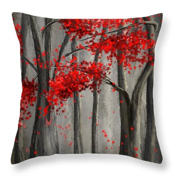 Dark Passion- Red And Gray Art Throw Pillow
