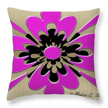 Dark Pink On Gold Floral Design Throw Pillow