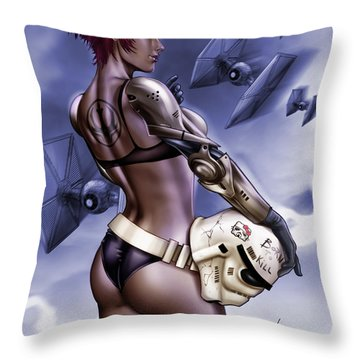 Dark Sided Throw Pillow by Pete Tapang