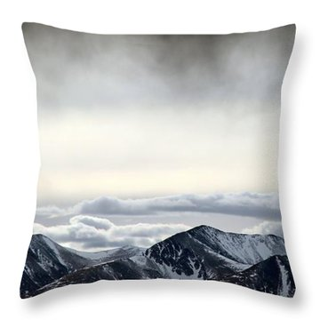 Throw Pillow featuring the photograph Dark Storm Cloud Mist  by Barbara Chichester
