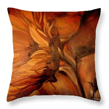 Throw Pillow featuring the painting Dark Sunflower by Sorin Apostolescu