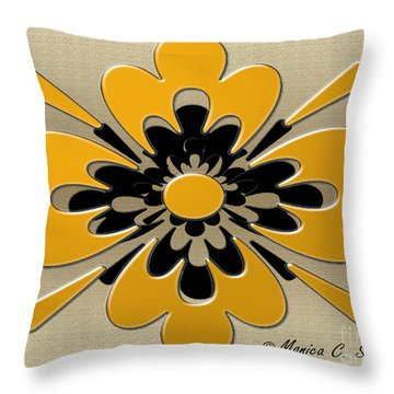 Dark Yellow On Gold Floral Design Throw Pillow