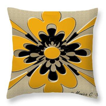 Dark Yellow On Gold Floral Design Throw Pillow