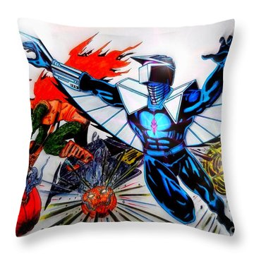Darkhawk Vs Hobgoblin Focused Throw Pillow