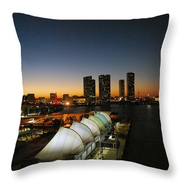 Darkness Falls On Port Of Miami Throw Pillow by Gary Wonning