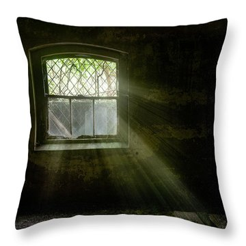 Throw Pillow featuring the photograph Darkness Revealed - Basement Room Of An Abandoned Asylum by Gary Heller