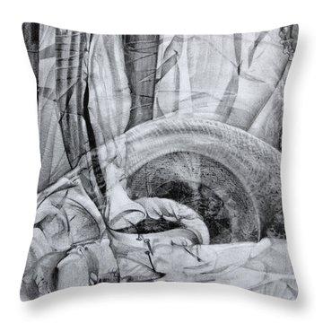 Das Monster Hat Sich Im Ungebuegelten Hintergrund Versteckt Throw Pillow