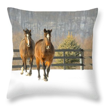Dashing Through The Snow Throw Pillow by Carol Lynn Coronios