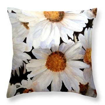 Dasies In The Garden Throw Pillow
