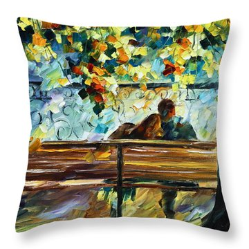 Date On The Bench Throw Pillow