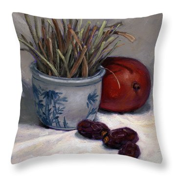 Dates Lemongrass And Mango Throw Pillow