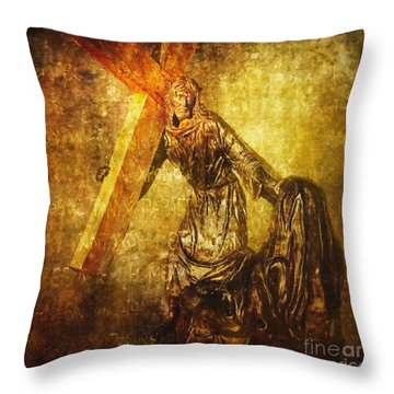 Daughters Of Jerusalem Via Dolorosa 8 Throw Pillow by Lianne Schneider