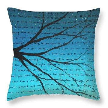 Dave Matthews Band Crush Lyric Art - Blue Throw Pillow