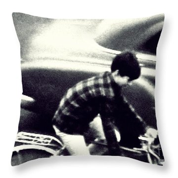Dave On A Bike Throw Pillow