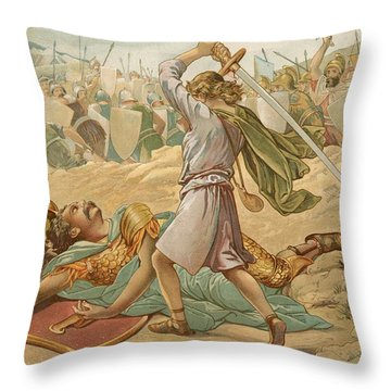 David About To Slay Goliath Throw Pillow by John Lawson