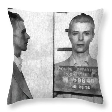 David Bowie Mug Shot Throw Pillow by Dan Sproul