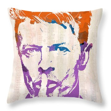 David Bowie Throw Pillow by Paulette B Wright