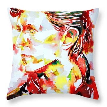 David Bowie Watercolor Portrait.1 Throw Pillow by Fabrizio Cassetta