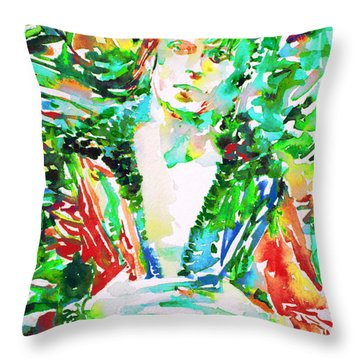 David Bowie Watercolor Portrait.2 Throw Pillow by Fabrizio Cassetta