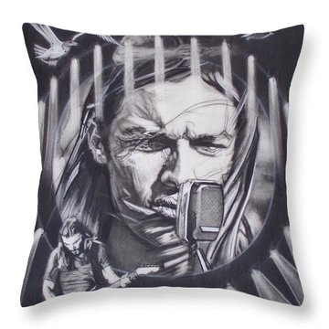 David Gilmour Of Pink Floyd - Echoes Throw Pillow