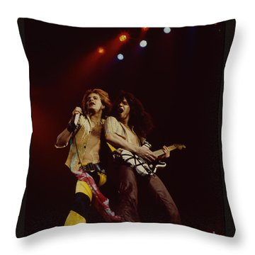 David Lee Roth And Eddie Van Halen - Van Halen- Oakland Coliseum 12-2-78   Throw Pillow