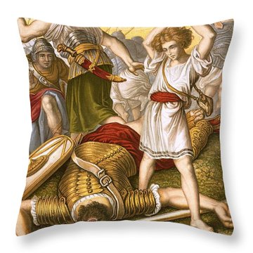 David Slaying Goliath Throw Pillow by English School
