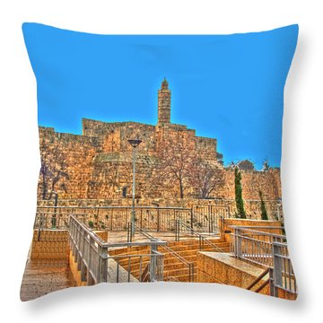 Throw Pillow featuring the photograph Davids Citadel - Israel by Doc Braham