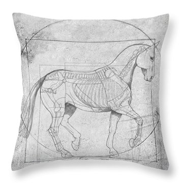 Da Vinci Horse Piaffe Grayscale Throw Pillow