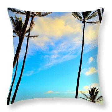 Dawn And Palms Kauia - Hawaii Throw Pillow
