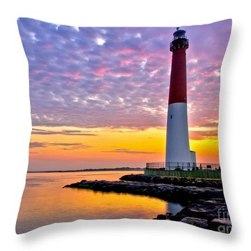 Dawn At Barnegat Lighthouse Throw Pillow